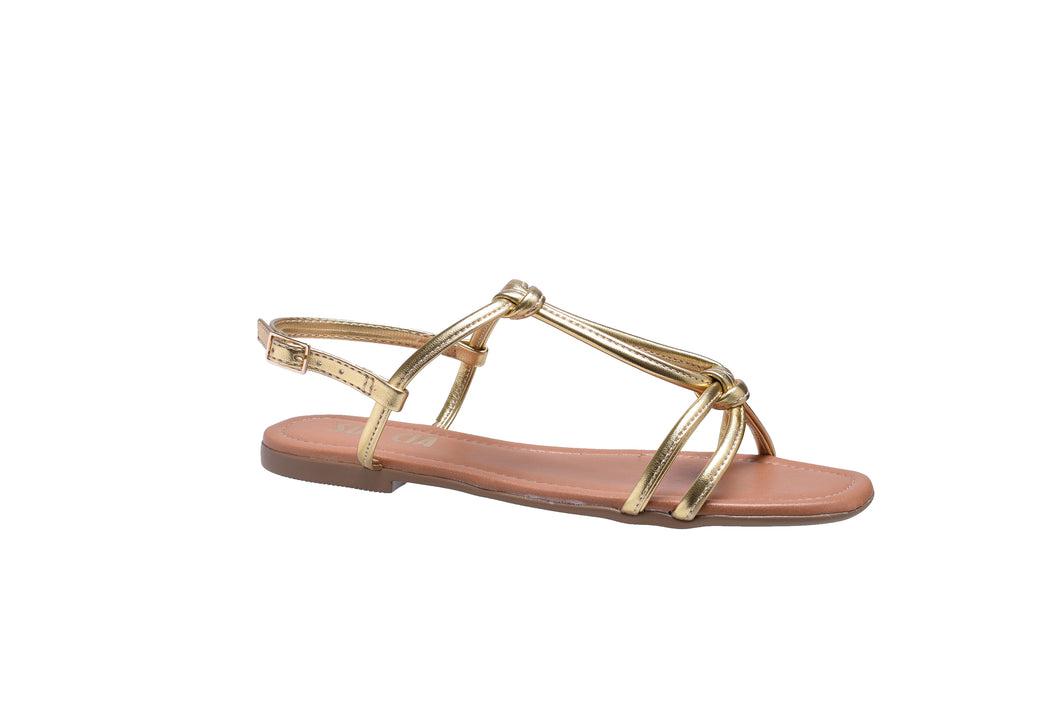 Gold Metallic, Flat Sandals