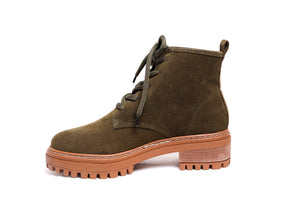 *Olive Green Suede Combat Boots
