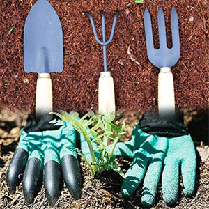 eBizmour Gardening Hand Cultivator, Big Digging Trowel, Shovel & Garden Gloves with Claws for Digging & Planting