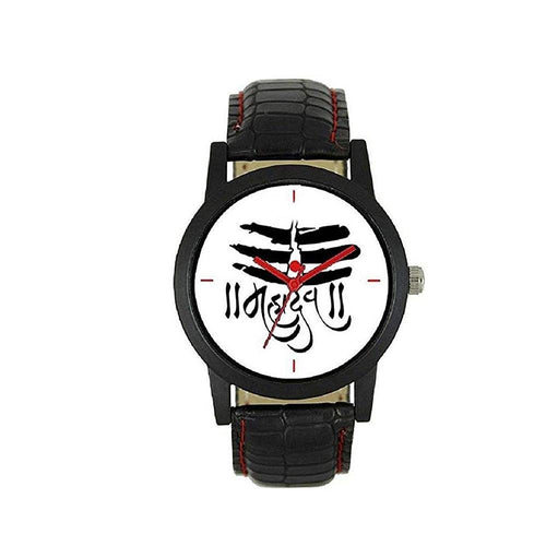 wt1009- Unique & Premium Analogue Watch MAHADEV Print Multicolour Dial Leather Strap (Mahadev W)