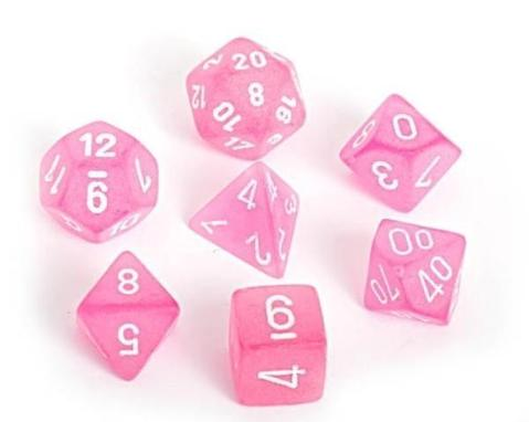 Frosted Polyhedral Pink/white 7-Die Set