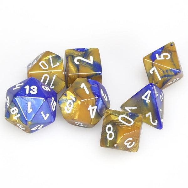Gemini Polyhedral Blue-Gold/white 7-Die Set