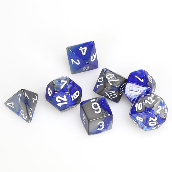Gemini Polyhedral Blue-Steel/white 7-Die Set