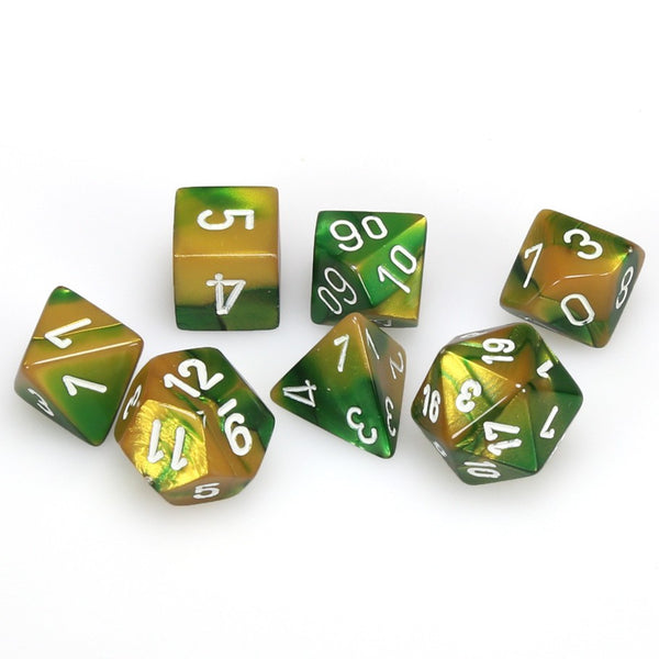Gemini Polyhedral Gold-Green/white 7-Die Set