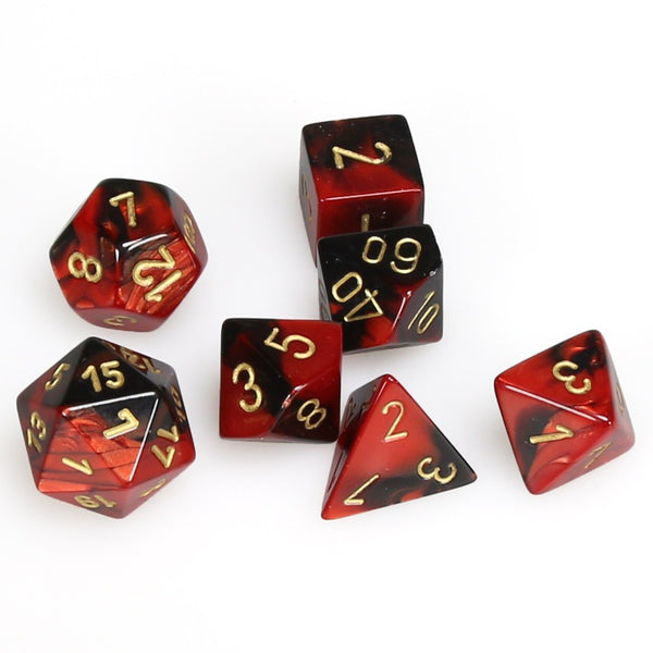 Gemini Polyhedral Black-Red/gold 7-Die Set