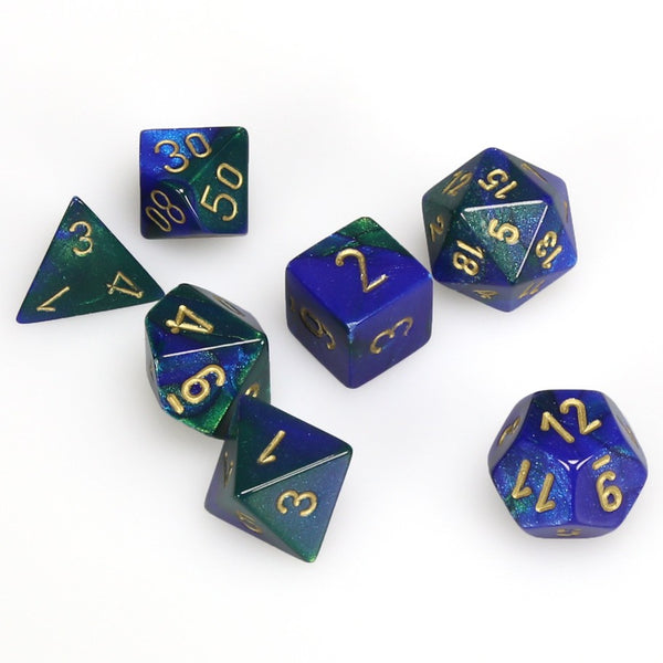 Gemini Polyhedral Blue-Green/gold 7-Die Set