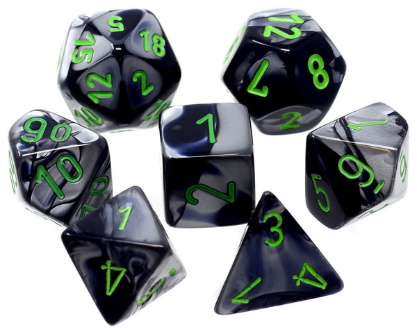 Gemini Polyhedral Black-Grey/green 7-Die Set