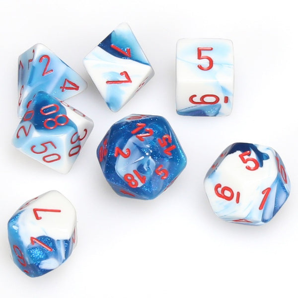 Gemini Polyhedral Astral Blue-White/red 7-Die Set