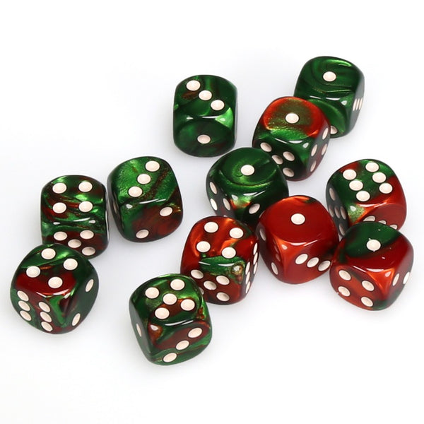 Gemini 16mm d6 Green-Red/white Dice Block (12 dice)