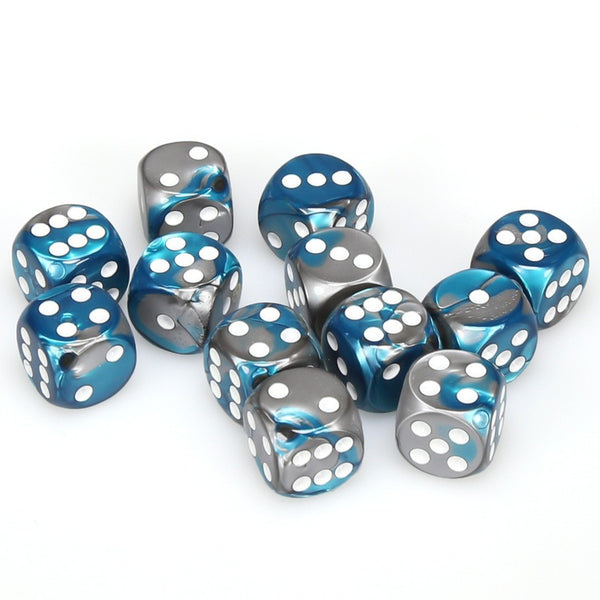 Gemini 16mm d6 Steel-Teal/white Dice Block (12 dice)