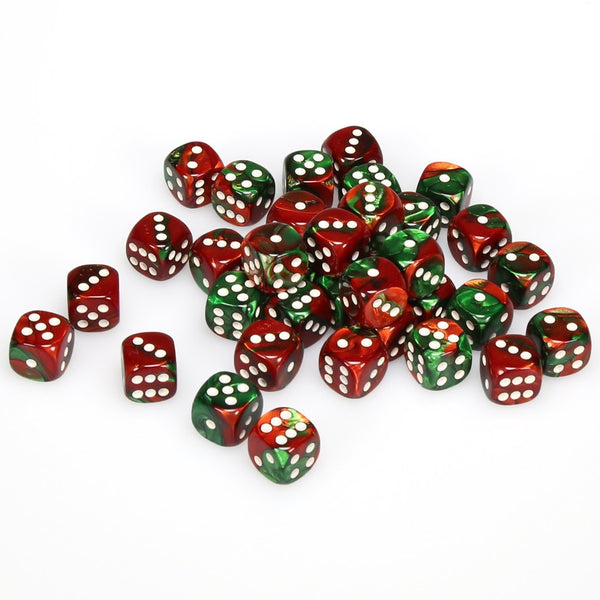 Gemini 12mm d6 Green-Red/white Dice Block (36 dice)
