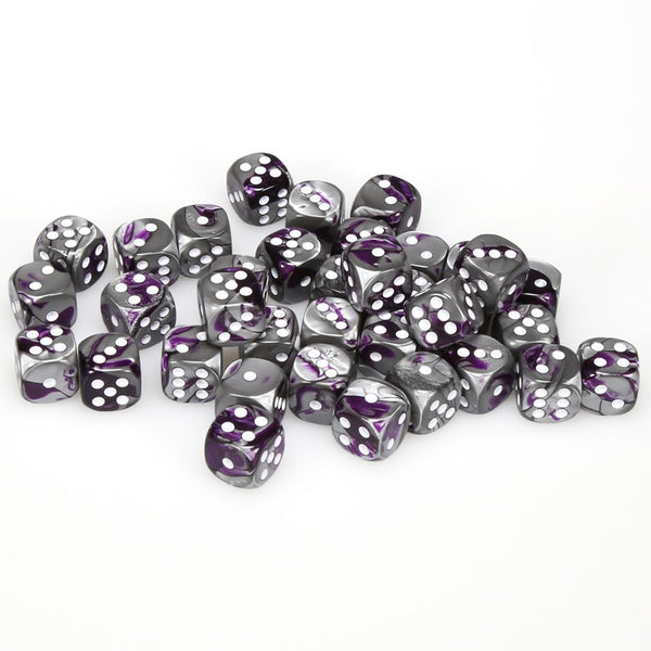 Gemini 12mm d6 Purple-Steel/white Dice Block (36 dice)