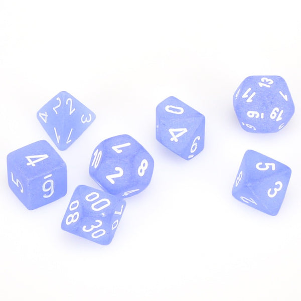 Frosted Polyhedral Blue/white 7-Die Set