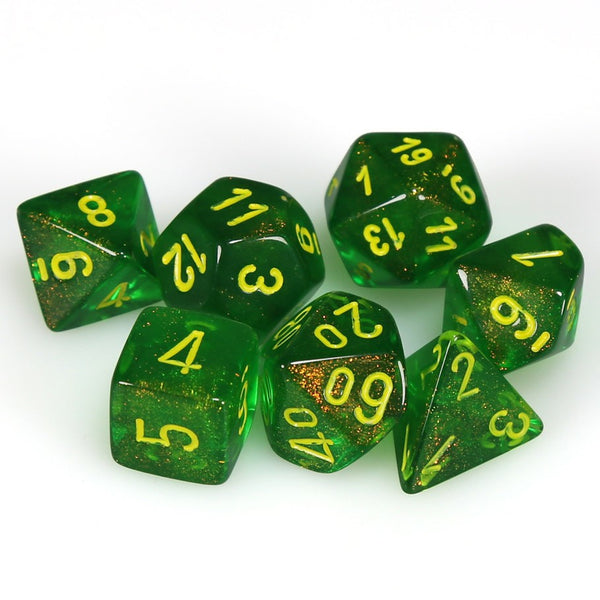 Borealis Polyhedral Maple Green/yellow 7-Die Set