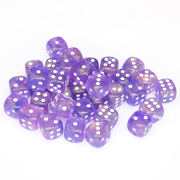Borealis 12mm d6 Purple/white Dice Block (36 dice)