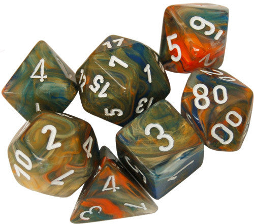 Festive Polyhedral Autumn/white 7-Die Set