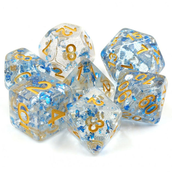 Let It Roll Translucent w/ Blue Flakes 7-Die Set