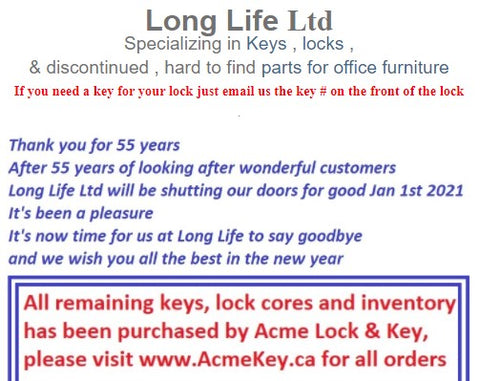 Long Life Sale of Keys & Cores to Acme