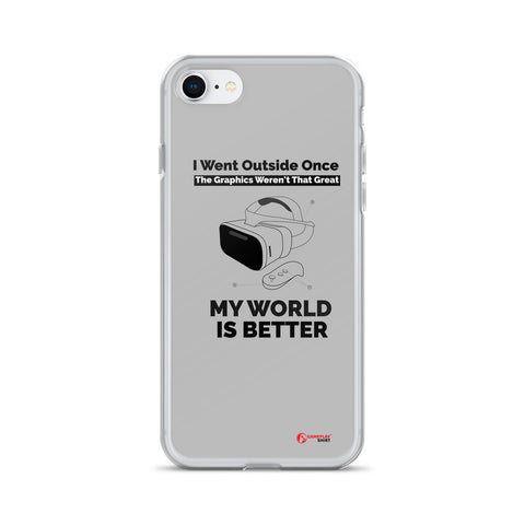 I Went Outside Once The Graphics Weren't That Great My world is better - Liquid Glitter Phone Case (black text)