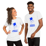 Keep it classic - Short-Sleeve Unisex T-Shirt (blue text)