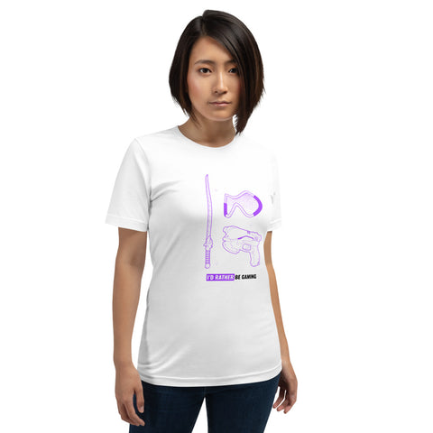 I'd rather be gaming - Short-Sleeve Unisex T-Shirt (purple text)