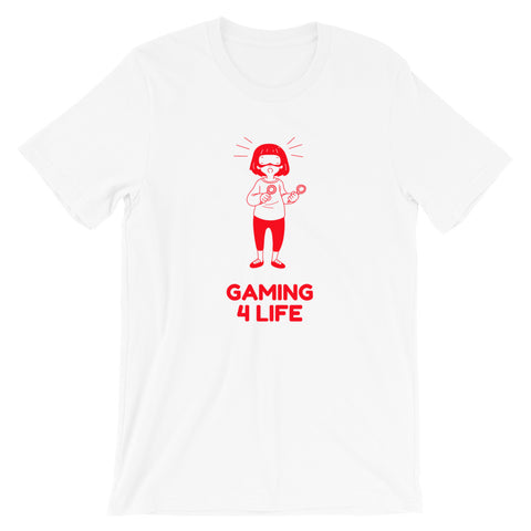 Gaming 4 Life - Short-Sleeve Unisex T-Shirt (red text)