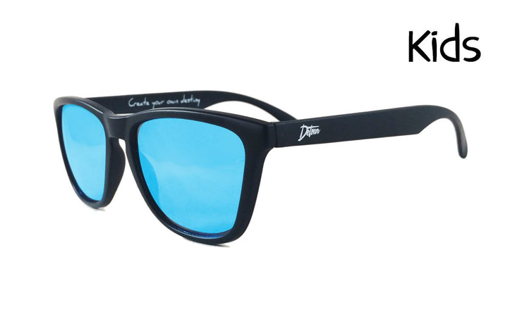 Kids Matte Black - Electric Blue Lens