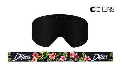 PowPow Detour black magnetic lens with Jungle Vibes pattern