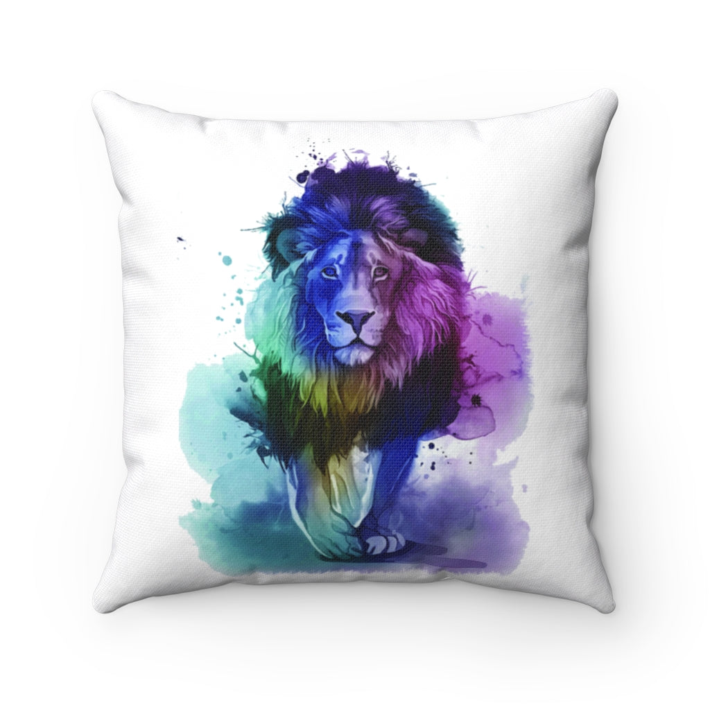 Lion Watercolor Spun Polyester Square Pillow