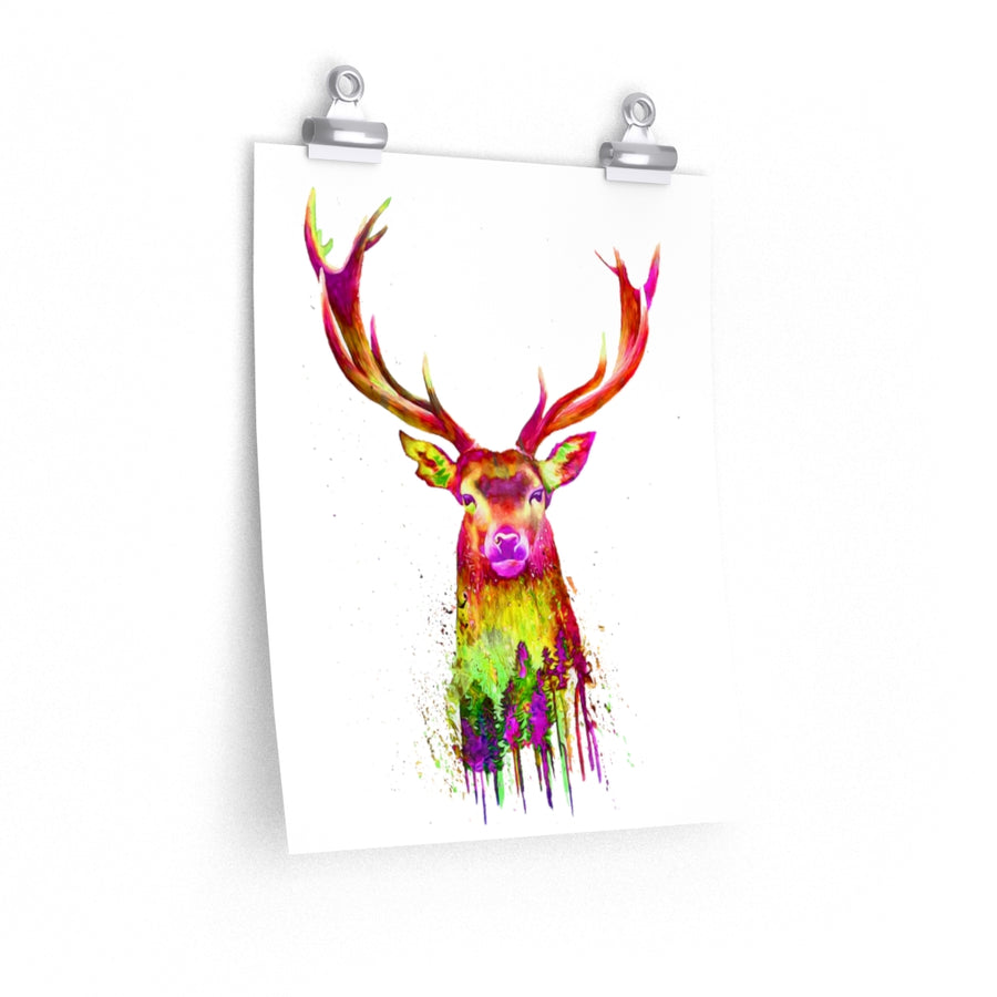 Deer Watercolor Premium Matte vertical posters print