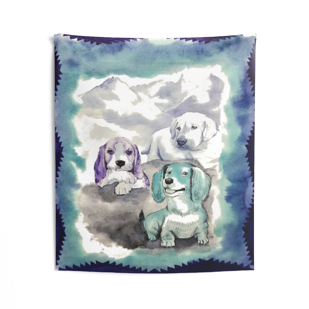 Three Dogs watercolor Indoor Wall Tapestries