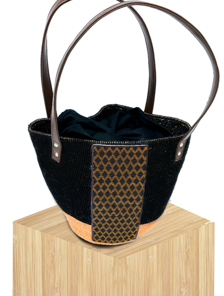 100% Handwoven Basket Bag Kenya with Beaded Front Panel