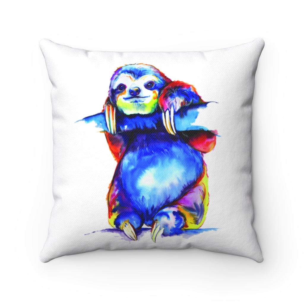 Sloth watercolor Spun Polyester Square Pillow
