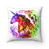Unicorn with flower frame watercolor Spun Polyester Square Pillow