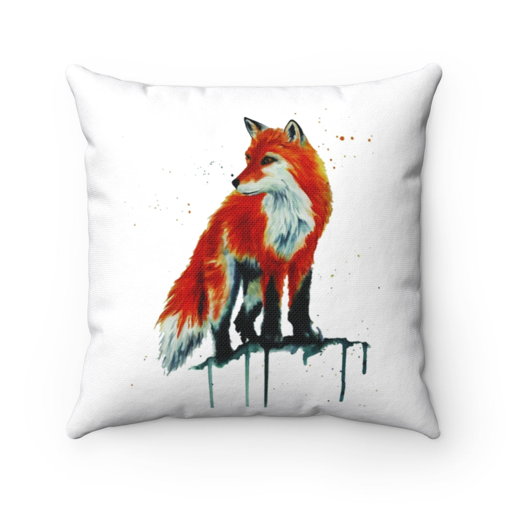 Fox Watercolor Spun Polyester Square Pillow