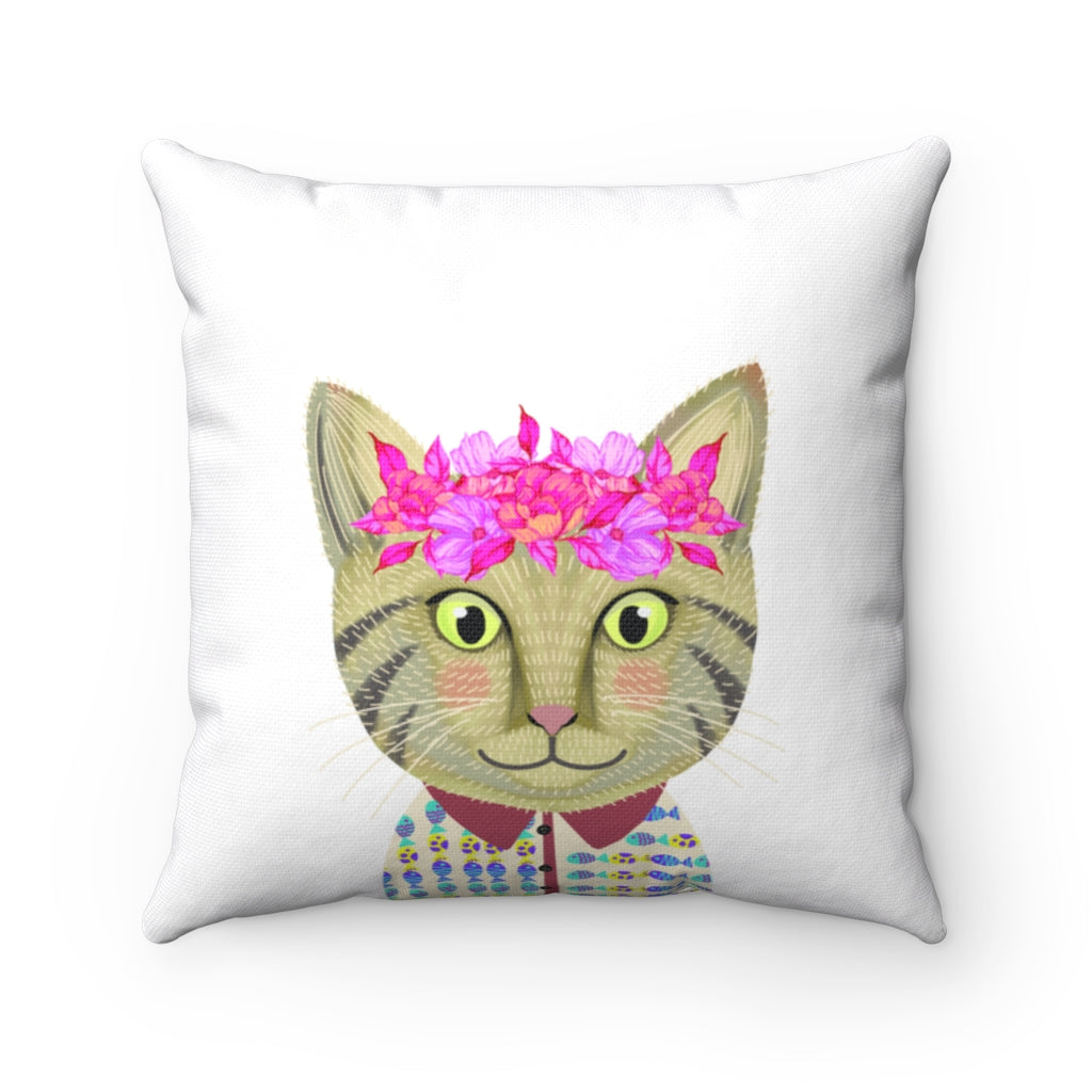 Pink Crown Cat Spun Polyester Square Pillow