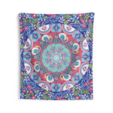 Blue floral mandala Indoor Wall Tapestries