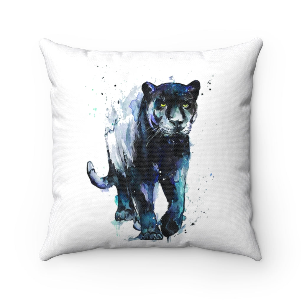 Black Panther Watercolor Spun Polyester Square Pillow