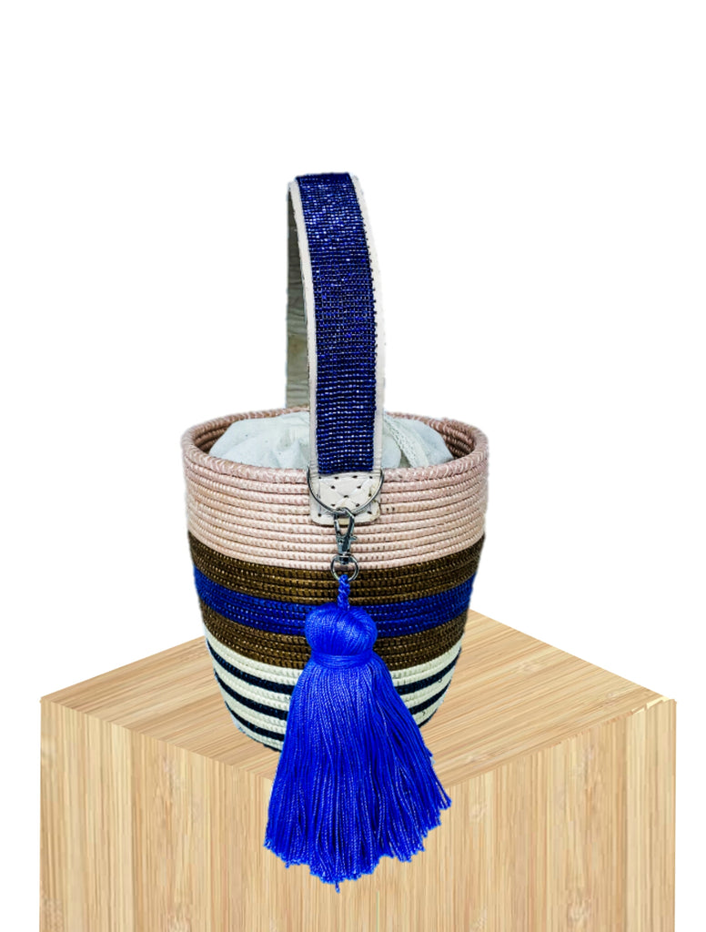 Handwoven Basket Bucket Bag Rwanda with  Beaded Handles