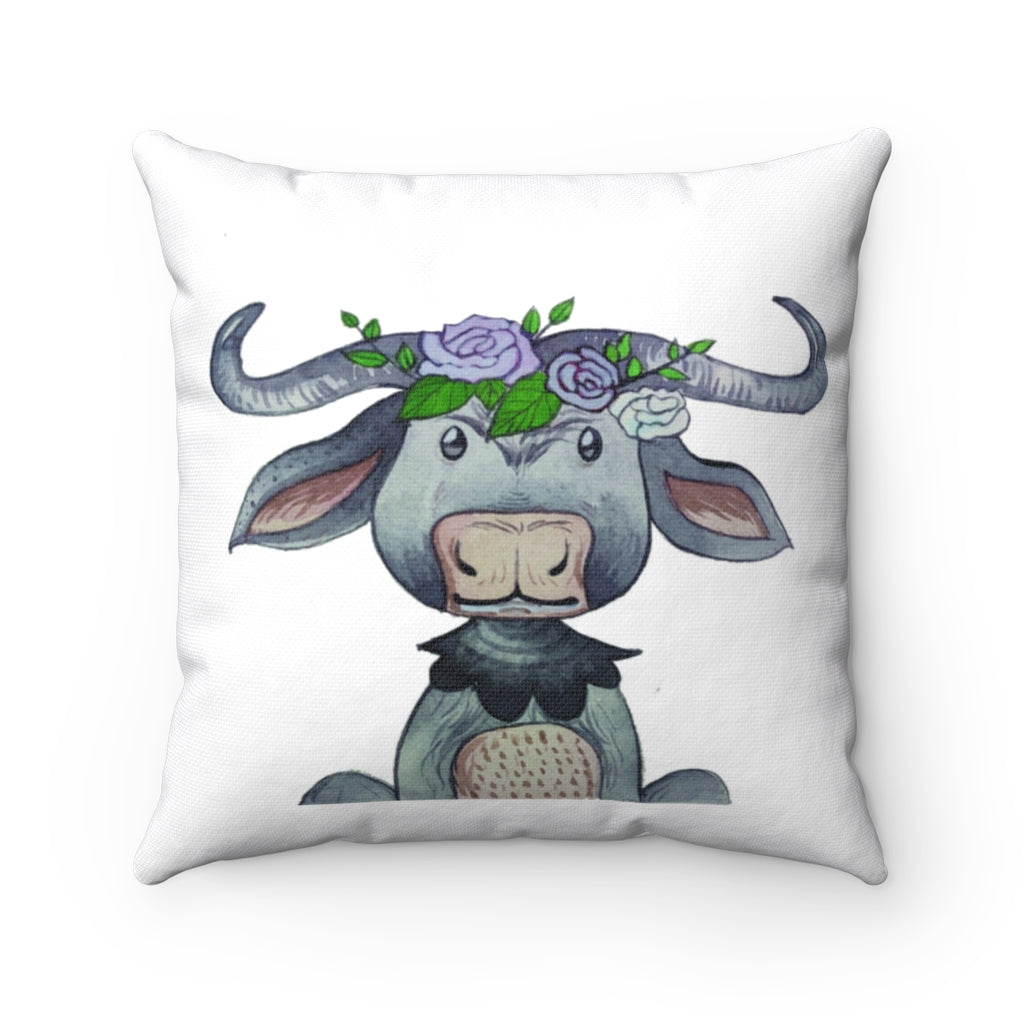 Kids Room Cape Buffalo watercolor Spun Polyester Square Pillow