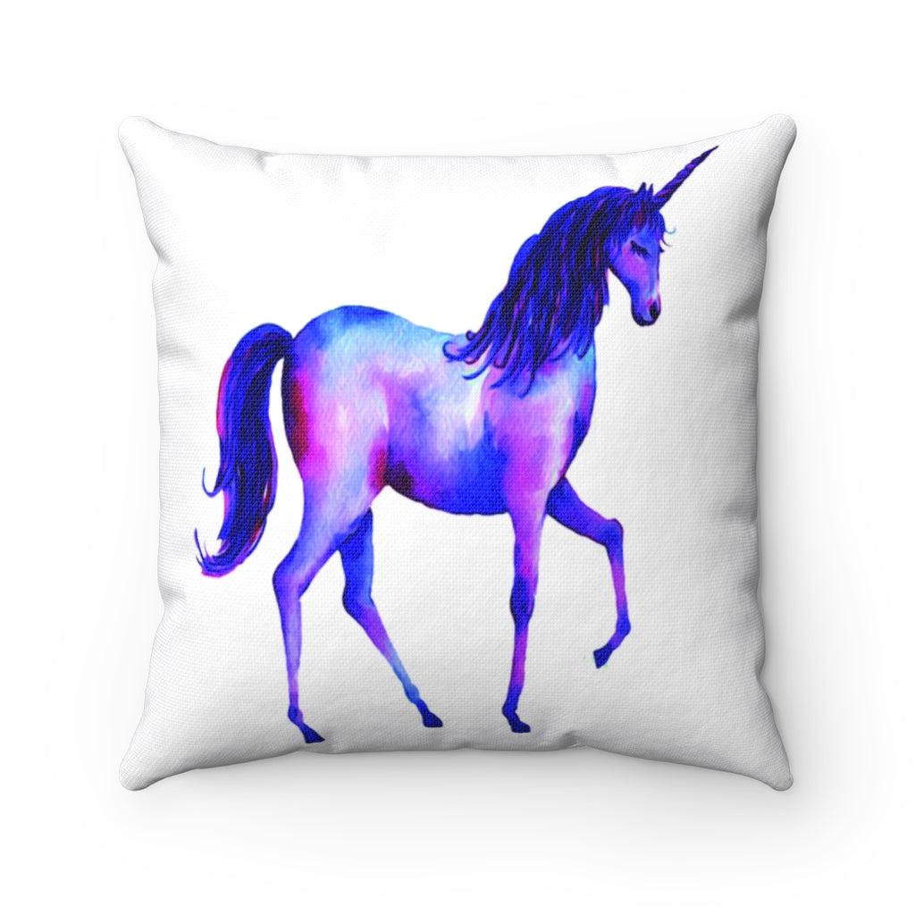 Unicorn Watercolor Spun Polyester Square Pillow