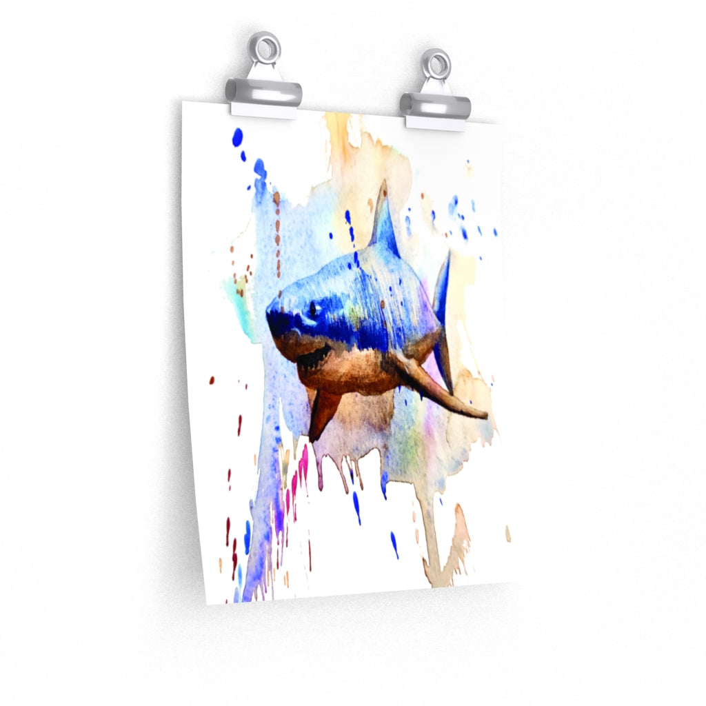 Shark watercolor Premium Matte vertical posters print