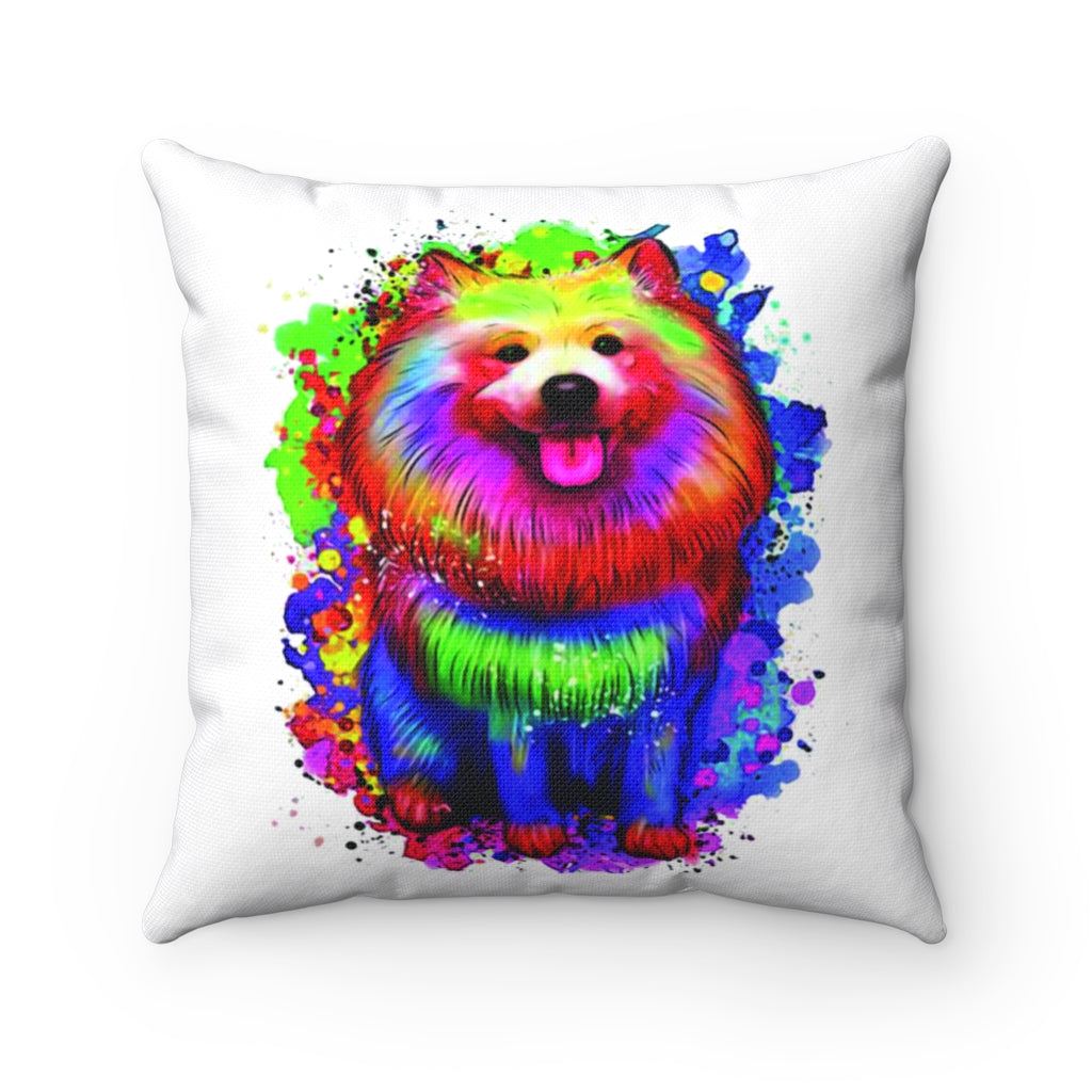 Racy Dog Watercolor Spun Polyester Square Pillow