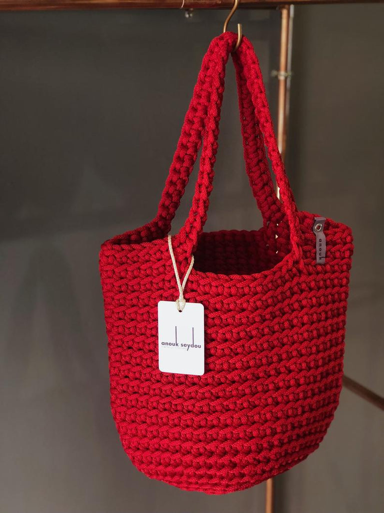 Scandanavian Tote Bag with Long Handles Handmade Classic Red