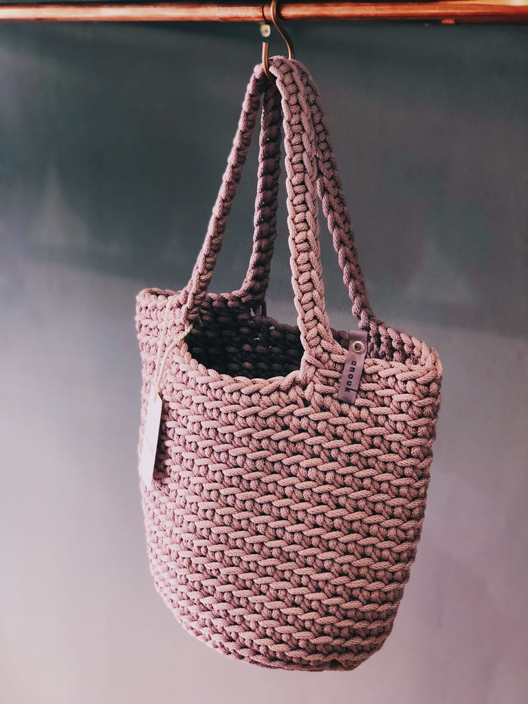 Scandinavian Style Tote Bag Long Handle Dusty Lavender