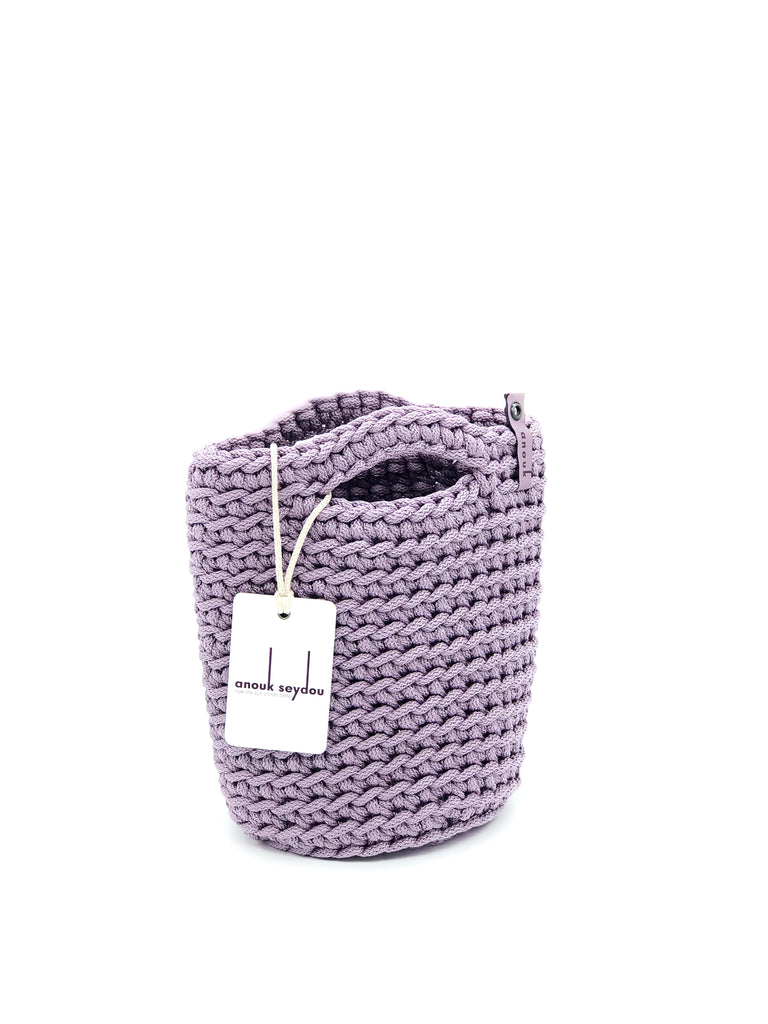 Tote Bag Scandinavian Style  Glossy Lilac Crochet Tote Bag Size MINI