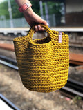 Scandinavian Style Crochet Handmade Bag with Short Handles Mustard Seed