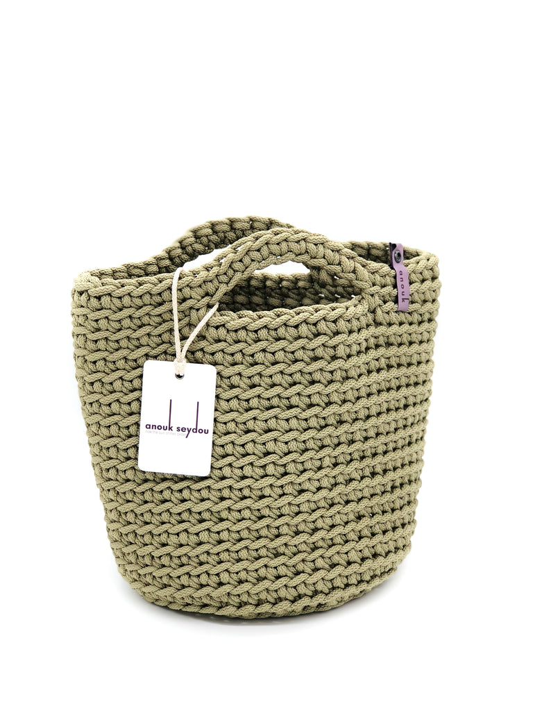 Scandinavian Style Handmade Crochet Tote Bag with Short Handles Olive