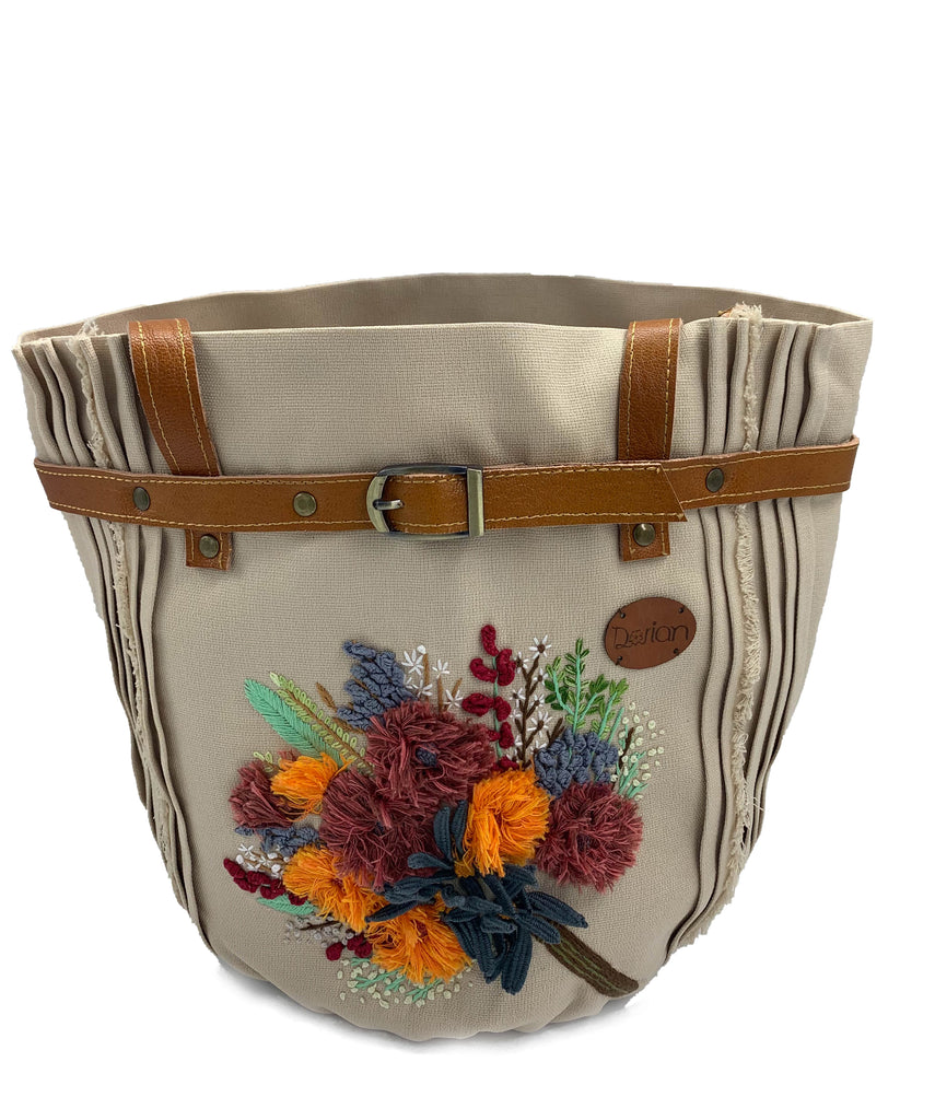 Embroidered  Bucket Tote Bag