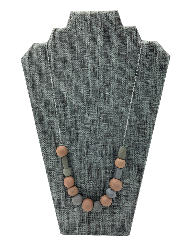 Monochrome Chunky Terracotta Beads Necklace